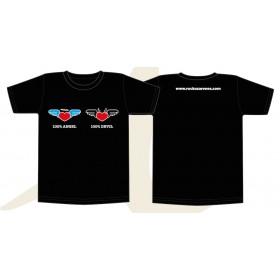 """T-shirt HOMME NOIR """" Angel & Devil"""" coeur"""