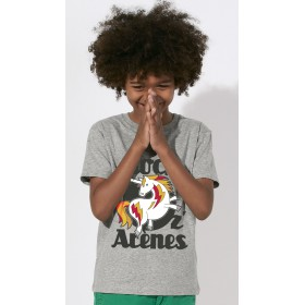 T-shirt noir rond gris enfant