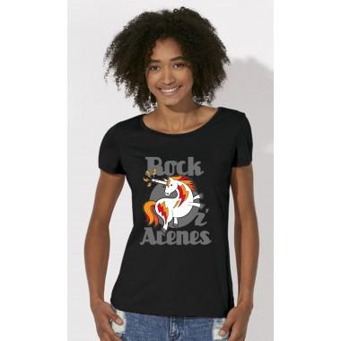 T-shirt noir rond gris femme