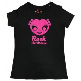 T-Shirt noir femme Alien Rose