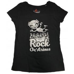 T-shirts noir femme alien argenté