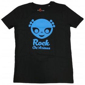T-shirt enfant noir  alien bleu